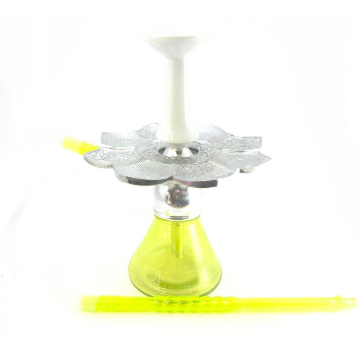 Narguile MD Hookah Bes COMPLETO alumínio 30cm, vaso AMARELO, mangueira MD, fornilho cerâmica funil prato El Nefes Prata