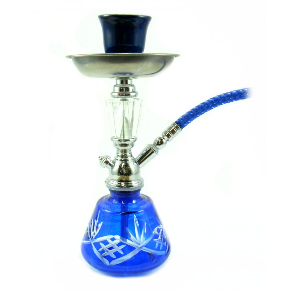 Mini Narguile 18cm. Vaso em vidro LAPIDADO AZUL corpo cromado, fornilho de cerâmica - mod. AB18_MOD12_1S_AZUL