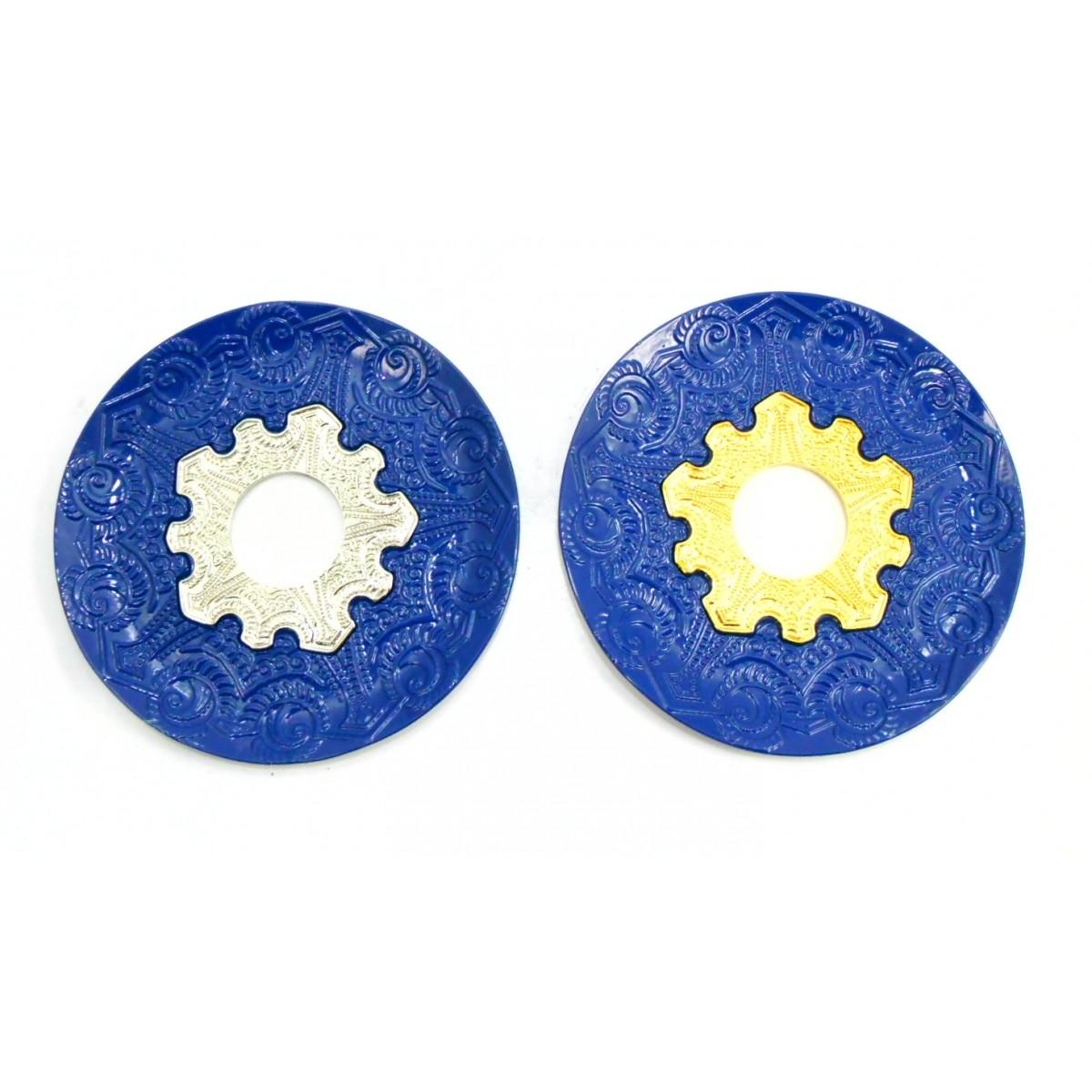 Prato para narguile modelo Vennus 17cm de diâmetro. Liga metálica inox e decorado. AZUL.
