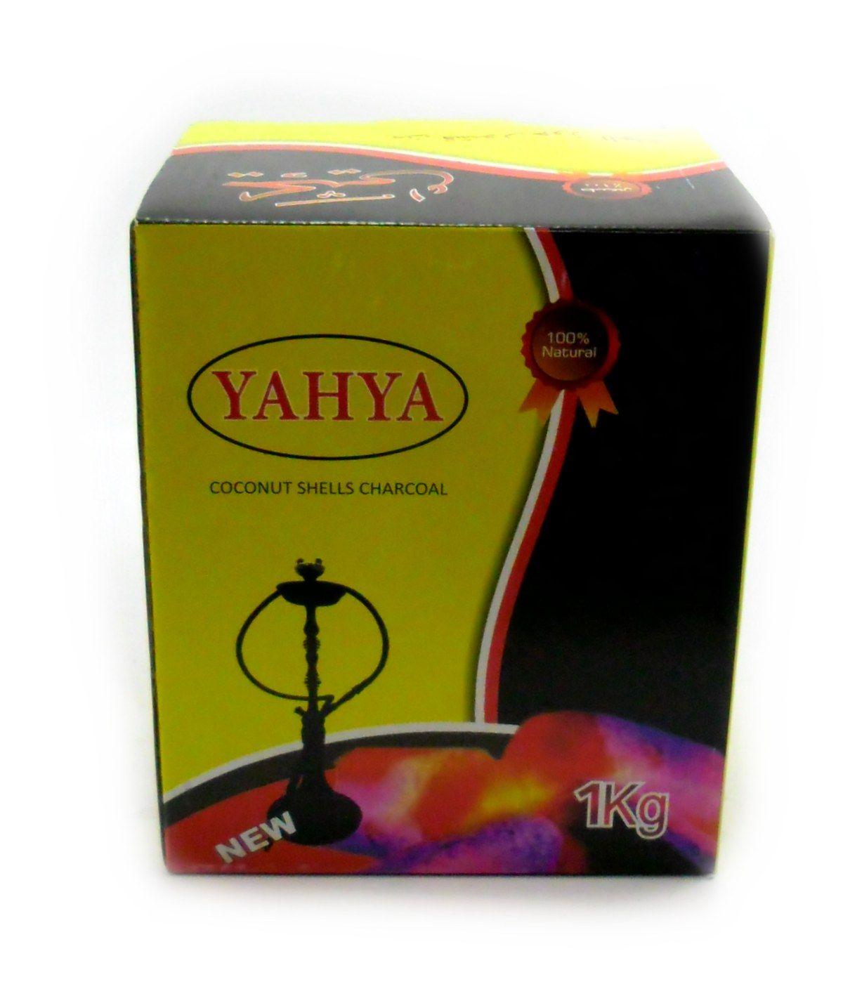 Carvão de coco para narguile e incenso YAHYA - caixa 1kg, aproximadamente 60 unidades HEXAGONAL.