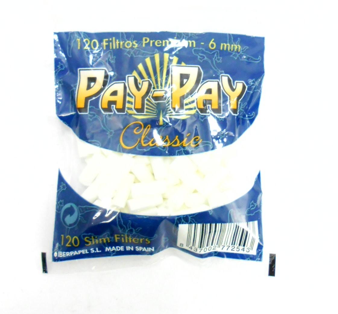 Filtro Pay-Pay para Cigarros. Tamanho Slim 6mm, tamanho algodão. Pacote com 120 unid.