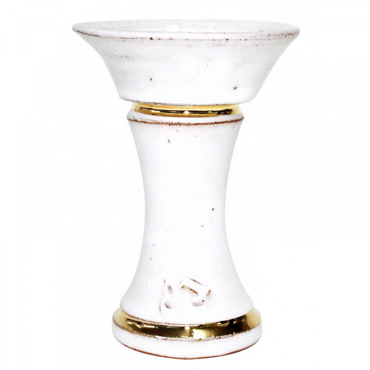 Fornilho/Rosh EZ Bowl Acid Gold com LISTRAS DOURADAS em cerâmica refratária. 10cm altura, 7,4cm diâmetro.
