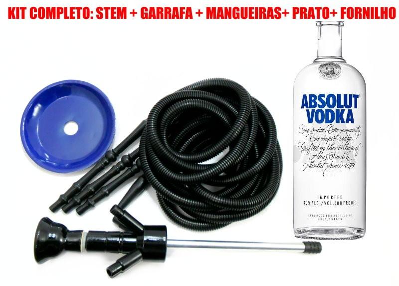 KIT COM: Narguile ABSOLUT® KING INOXIDÁVEL + 4 Mangueiras laváveis GO HOSE + Garrafa(vazia) ABSOLUT® + Prato+Rosh -AZUL