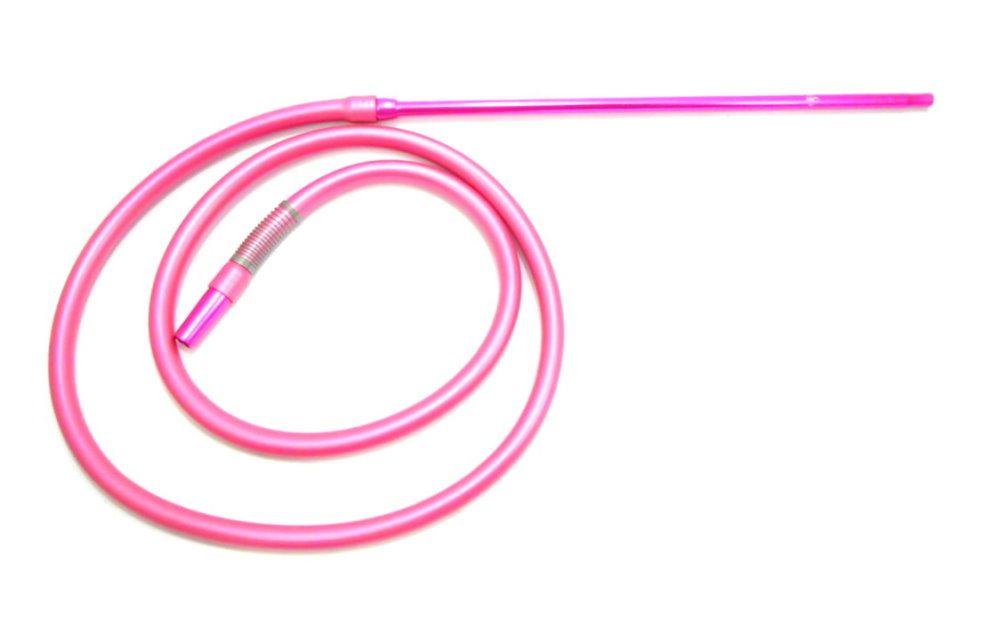 Mangueira Anubis silicone antichamas ROSA + piteira ROSA alumínio Slim (fina) 2 m. comprimento + 1 mola (spring).