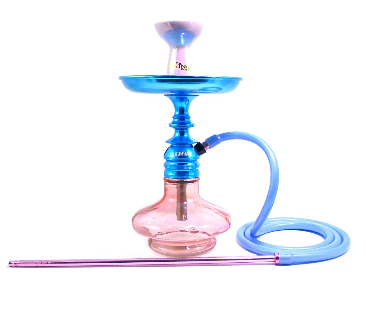 Narguile Amazon Kombat Azul, vaso Aladin Rosé, mangueira silicone, piteira alumínio, rosh B-King, prato DM azul