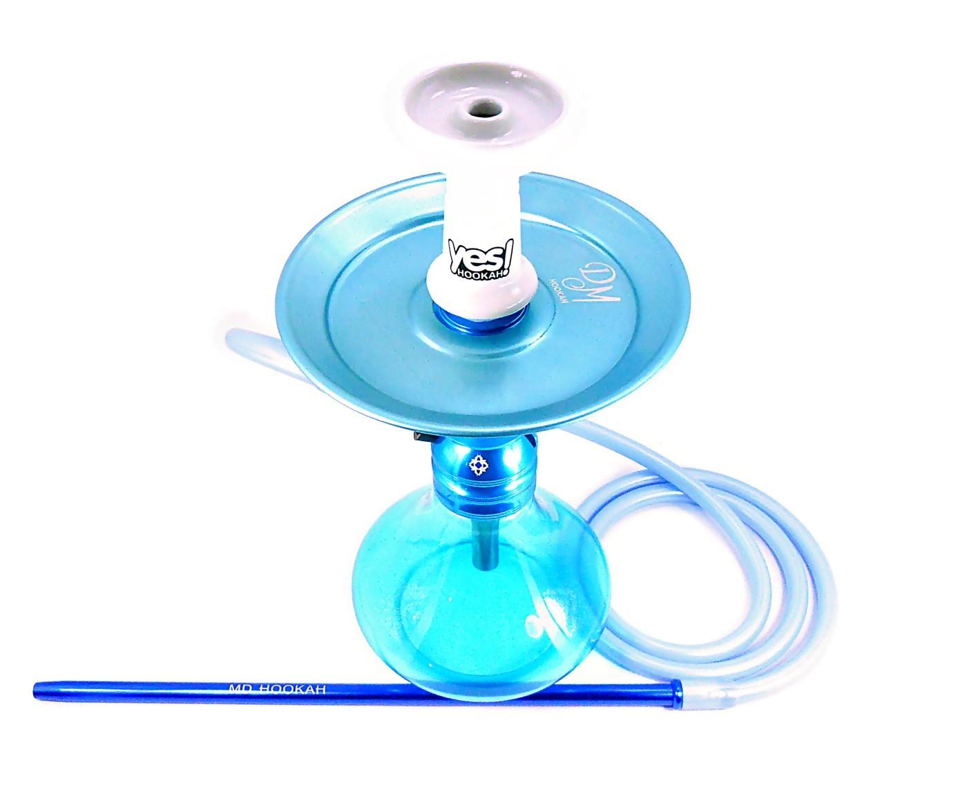 Narguile Amazon Kombat Azul, vaso Yes Aladin, mangueira silicone, piteira alumínio, rosh Yes Branco, prato DM azul