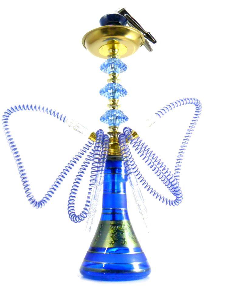 Narguile Grande 59cm azul e dourado, kaloud, pinça especial, fogareiro elétrico e carvão de coco.