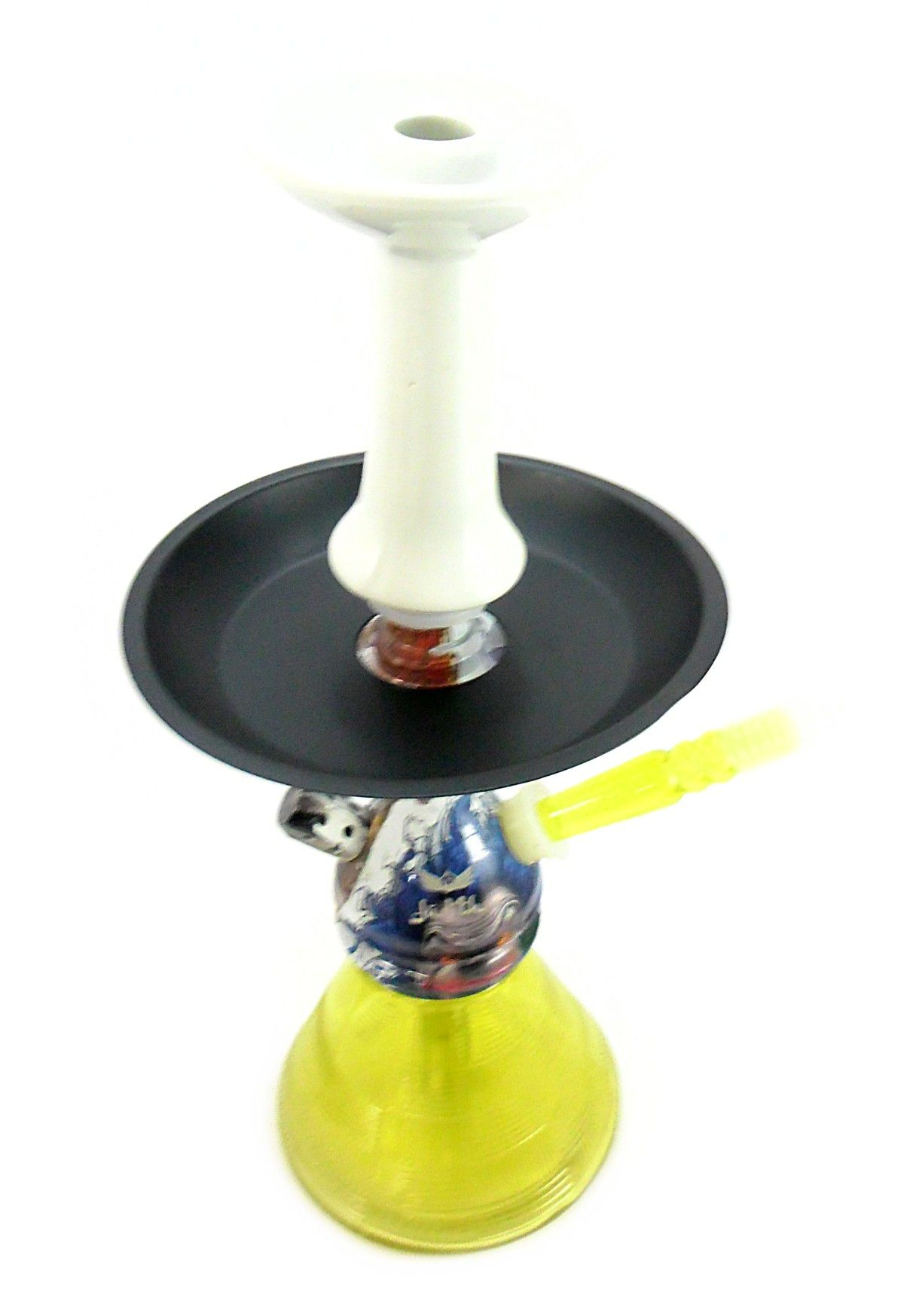 Narguile JUDITH EVIL CLOWN 33cm. Vaso Petit Amarelo, mangueira MD Hose Amar, prato pintado Preto, Fornilho Flux Branco