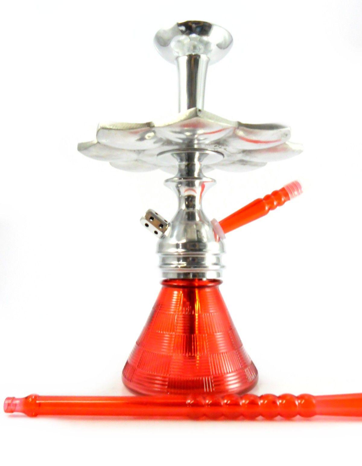 Narguile JUDITH POLIDO 33cm, vaso Petit vermelho, mangueira MD HOSE Vermelho, fornilho alumínio, prato El Nefes Cromado