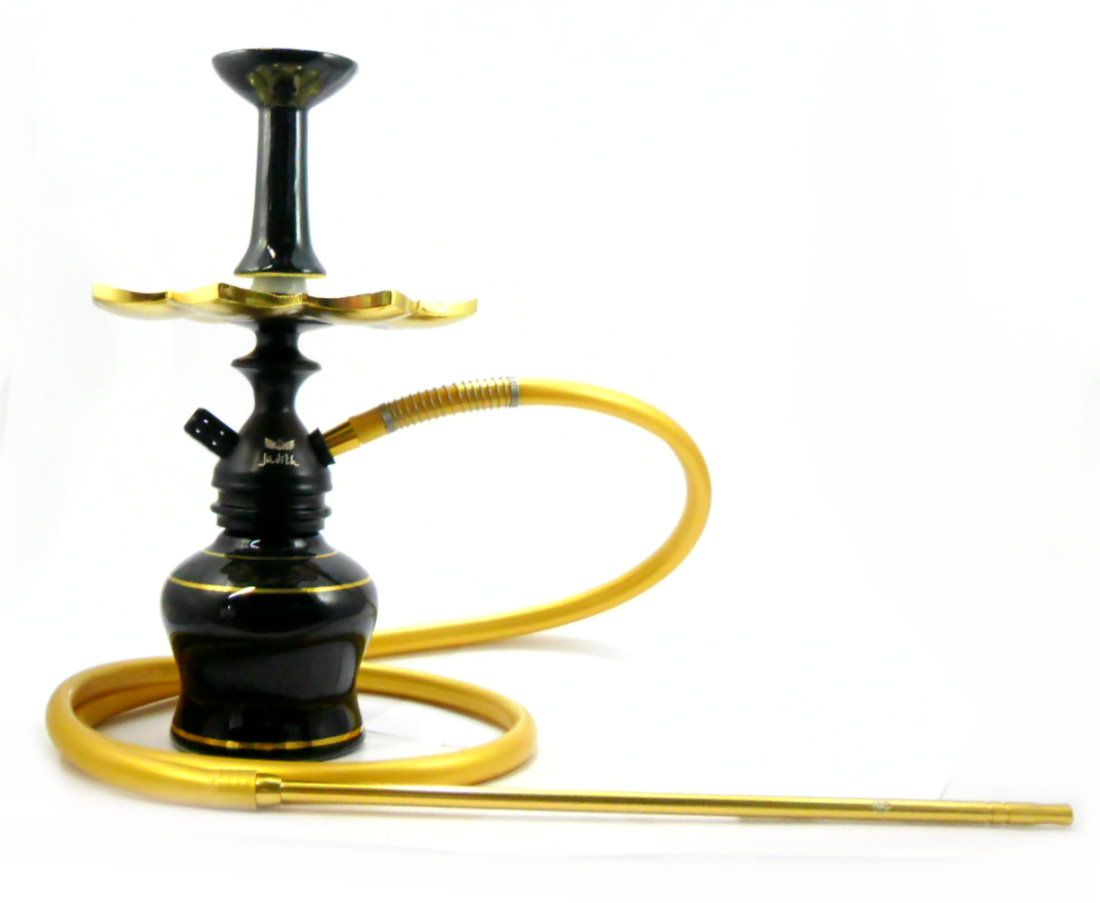 Narguile JUDITH PRETO 36cm. Vaso PRETO LISTRA DOURADA, mangueira SILICONE, piteira de alumínio e prato dourado. Rosh PRT