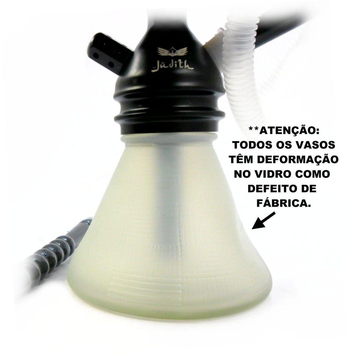 Narguile JUDITH PRETO LISO 33cm, vaso petit BRANCO, mangueira MD BLACK fornilho Flux Bowl Preto, prato VENNUS PRETO/CROM