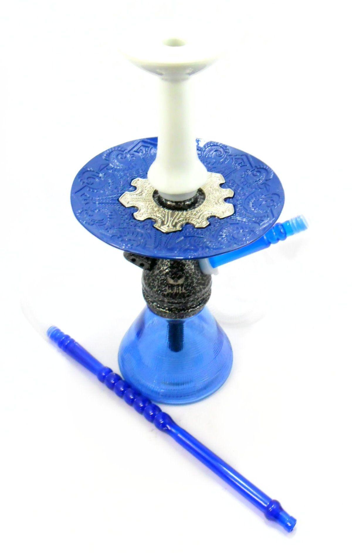 Narguile JUDITH PRETO MARTELADO 33cm, vaso Petit AZUL, mangueira MD HOSE, fornilho Flux BRANCO prato Vennus Azul/Cromado
