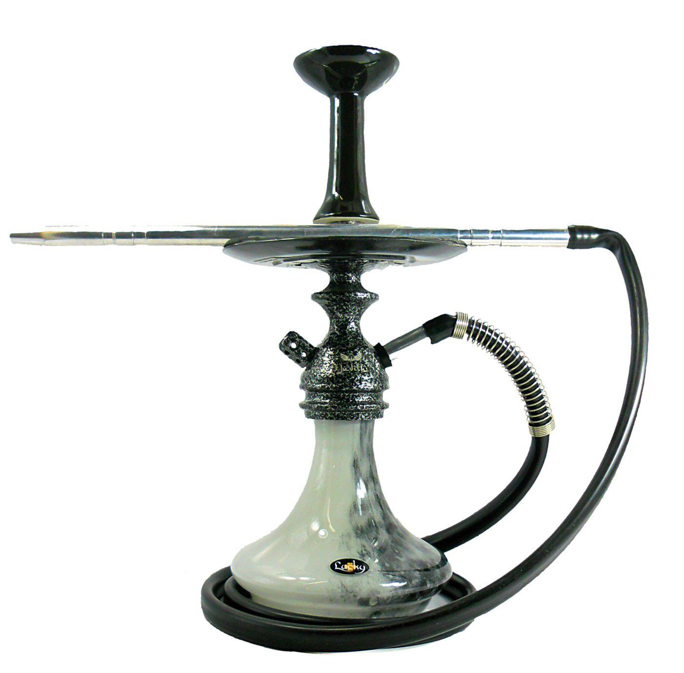 Narguile Judith PRETO martelado, vaso Aladin, mang. silicone, piteira alumínio, prato Vennus e rosh.