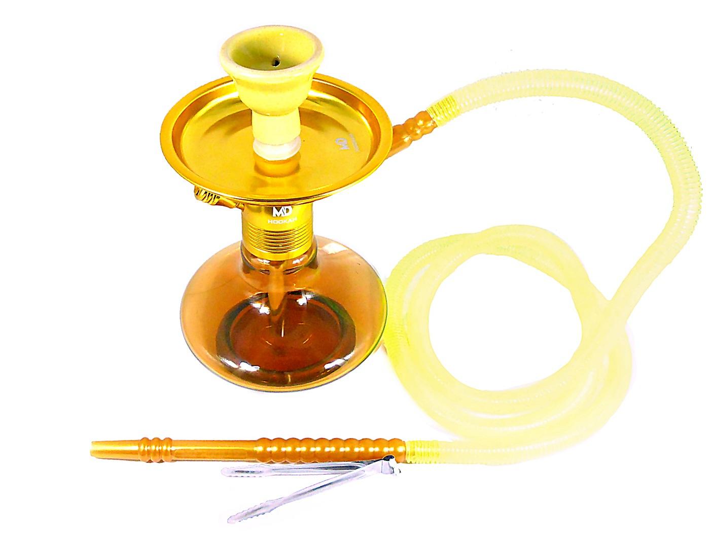 Narguile MD Hookah ALADIN 25cm DOURADO. Vaso Genie amarelo, stem usinado em alumínio, pintura anodizada, mang. lavável.