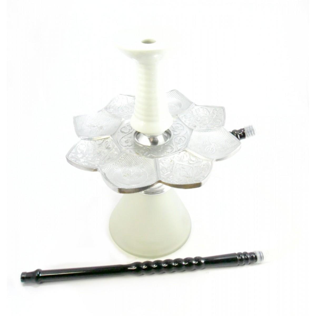 Narguile MD Hookah Bes COMPLETO alumínio 30cm, vaso BRANCO, mangueira MD, fornilho cerâmica funil, prato El Nefes Prata