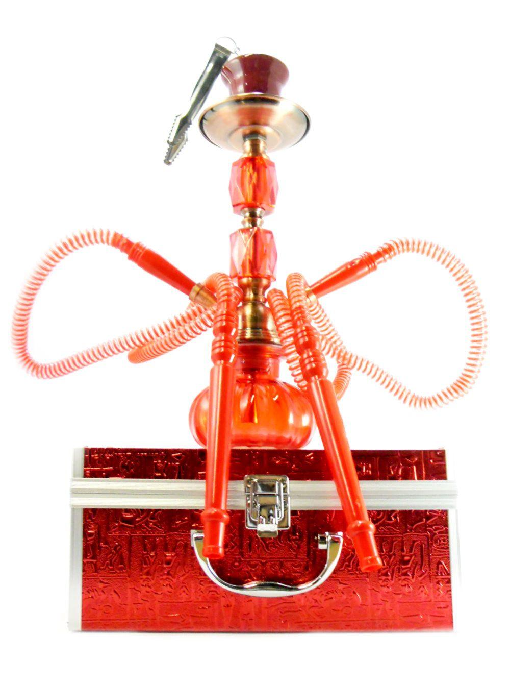 Narguile médio (30cm) de duas mangueiras com MALETA vermelho, rosh octa, controlador (kaloud), fogareiro e carvão 1kg.