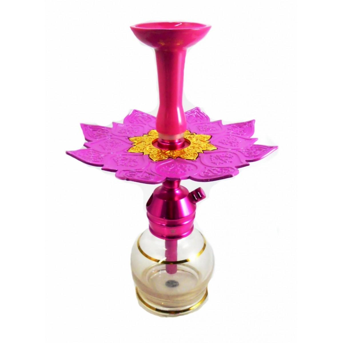 Narguile TRITON ZIP 35cm SETUP sem mangueira, vaso listra dourada, fornilho alumínio rosa. Prato Athenas Rosa/Dourado.