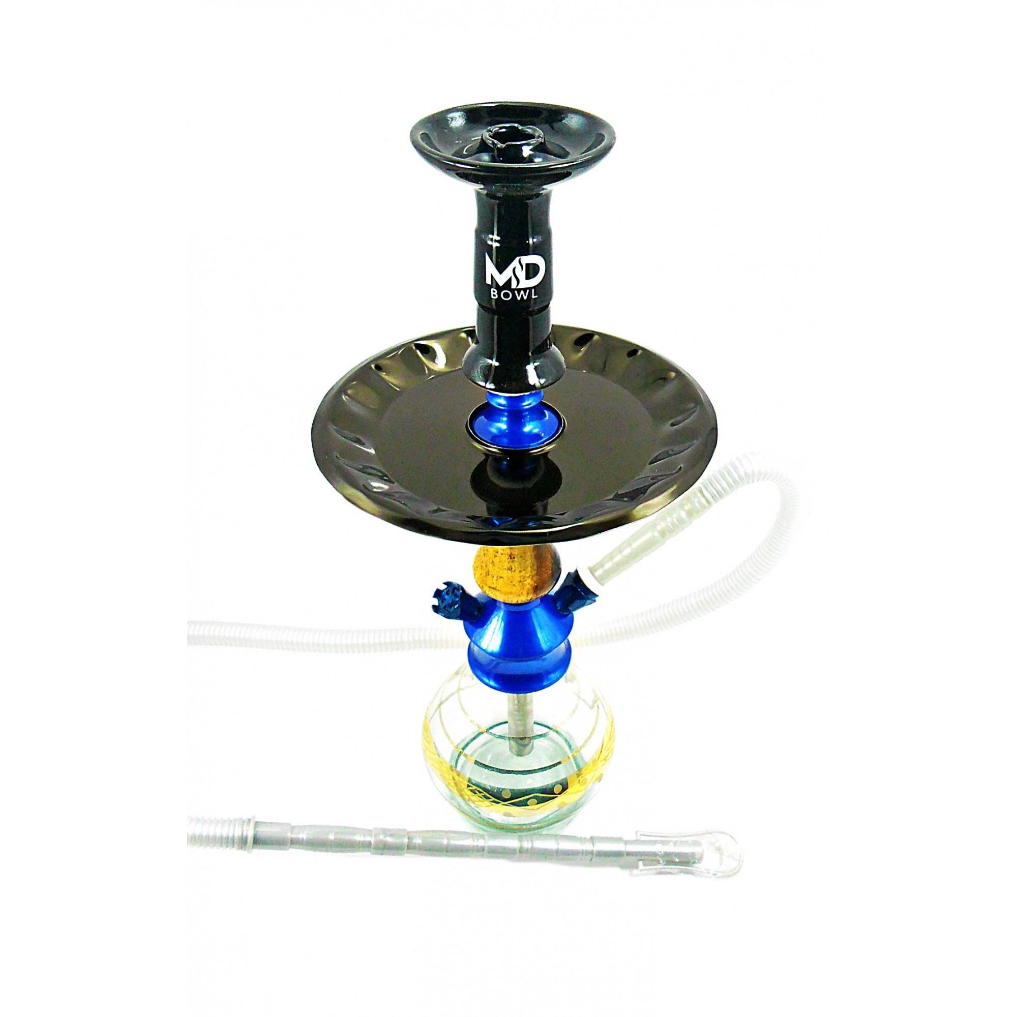 Narguile Yahya A39 azul 44cm, mangueira branca/azul, rosh azul, prato metal preto, vaso gota lapidado listra dourada