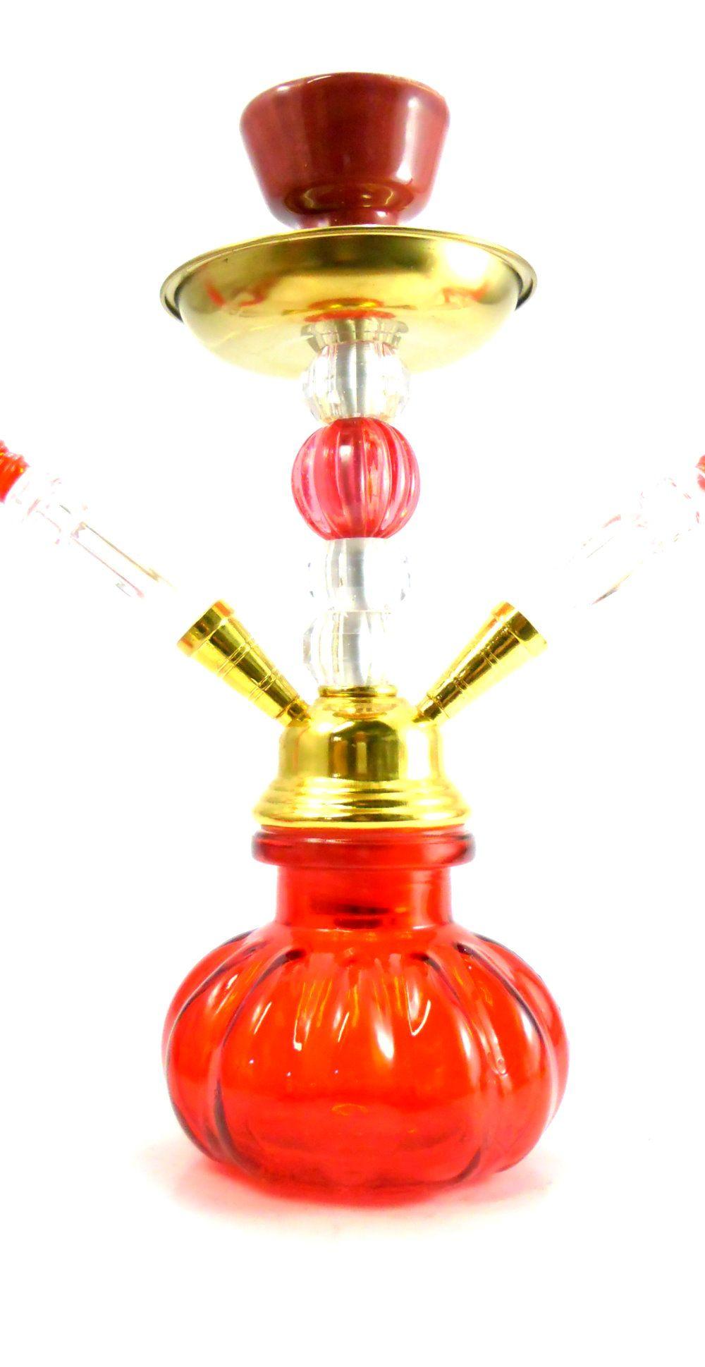 Narguile YAHYA compacto (30cm), duas mangueiras, vaso vidro VERMELHO, corpo tom DOURADO. Y011VRM