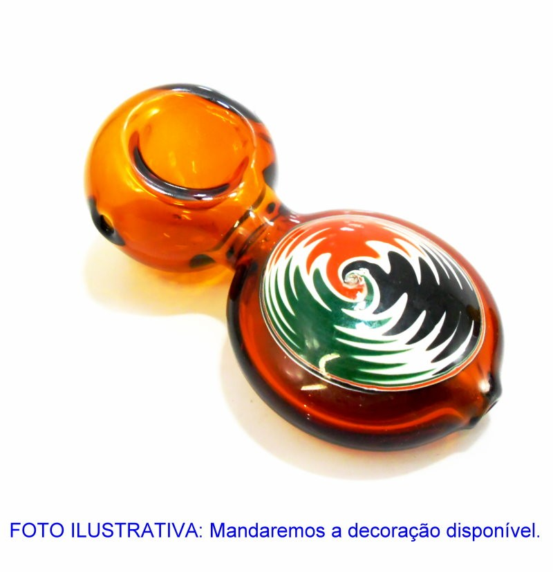 Pipe/cachimbo DO REI em vidro âmbar, decorado com mandala, 9 cm. - MODELO MANDALA