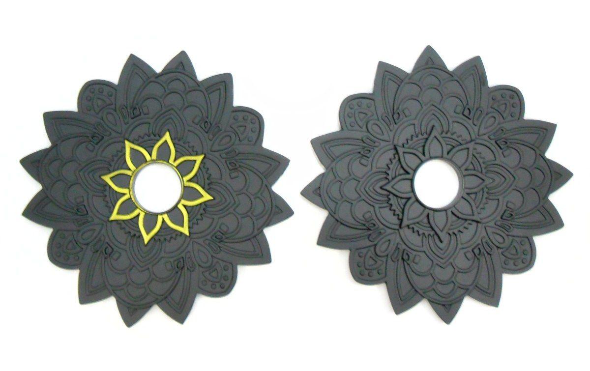 Prato para narguile mod. Flor de Lótus YAHYA, PRETO, metal maciço. 24cm diâmetro, furo 4,2cm.