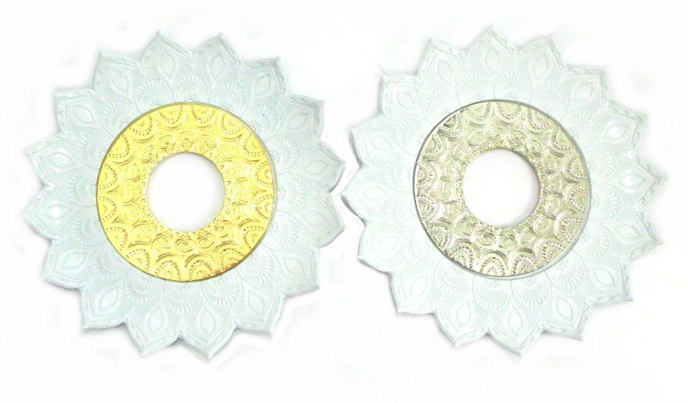Prato para narguile mod. Artemis 17cm diâm. Em liga metálica inox e decorado. Cor: BRANCO.