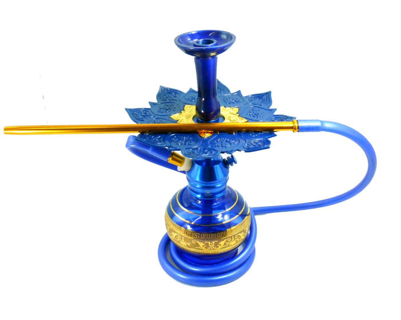 SETUP COMPLETO AZUL: Narguile TRITON ZIP mangueira antichamas c/piteira, vaso Azul/dourado, rosh alumíniO, Prato Athenas
