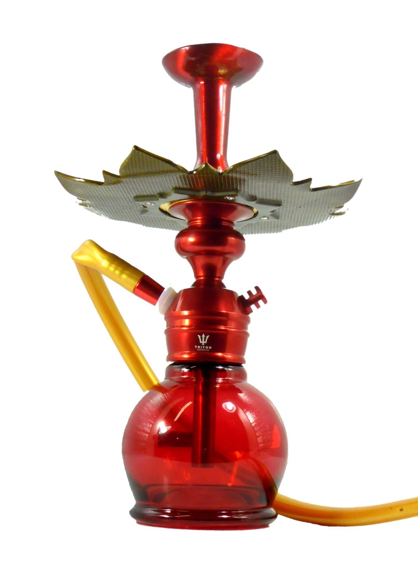 SETUP COMPLETO VERMELHO:Narguile TRITON ZIP mangueira antichamas c/ piteira, vaso vermelho, rosh alumínio, Prato Athenas
