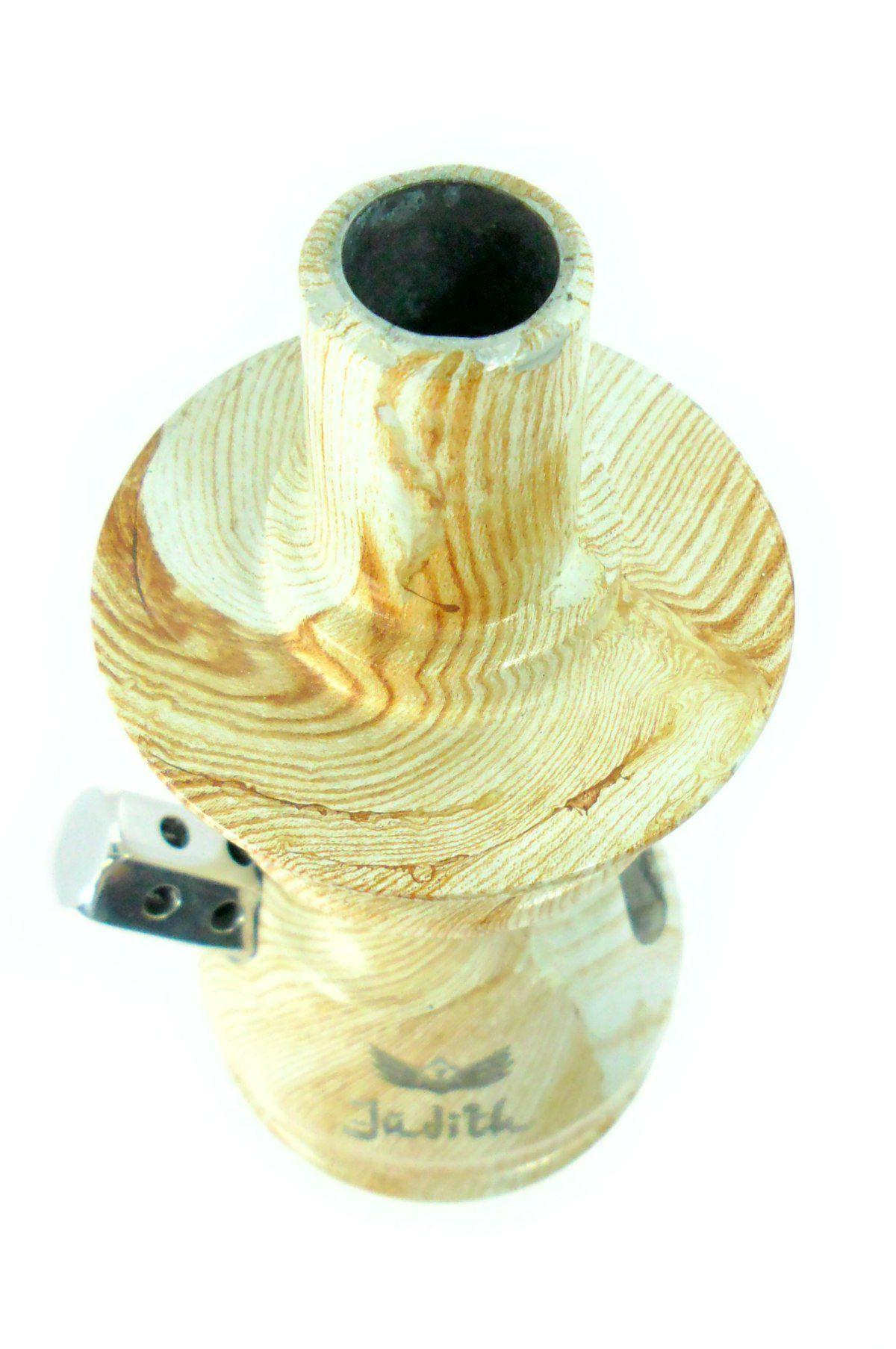 Stem (corpo de narguile) JUDITH MADEIRA (pintura hidrográfica) 22cm, alumínio usinado, dutado.