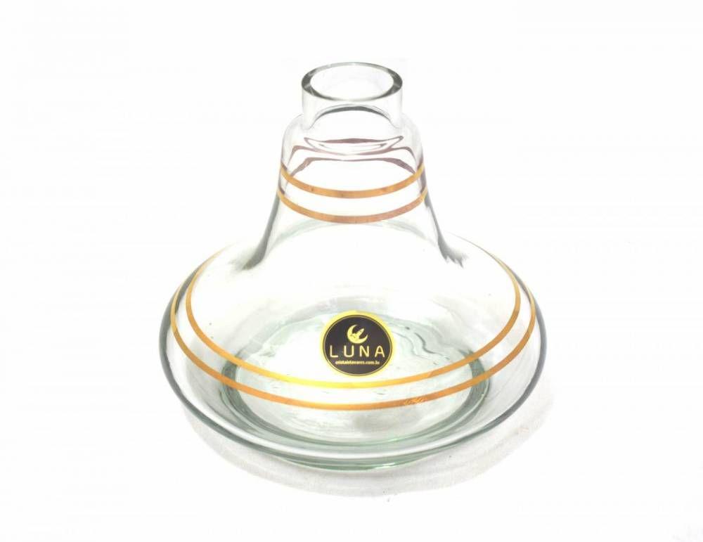 Vaso/base para narguile Aladin/Gênio 14,5cm, marca LUNA, decorado c/LISTRAS douradas. Encaixe macho.