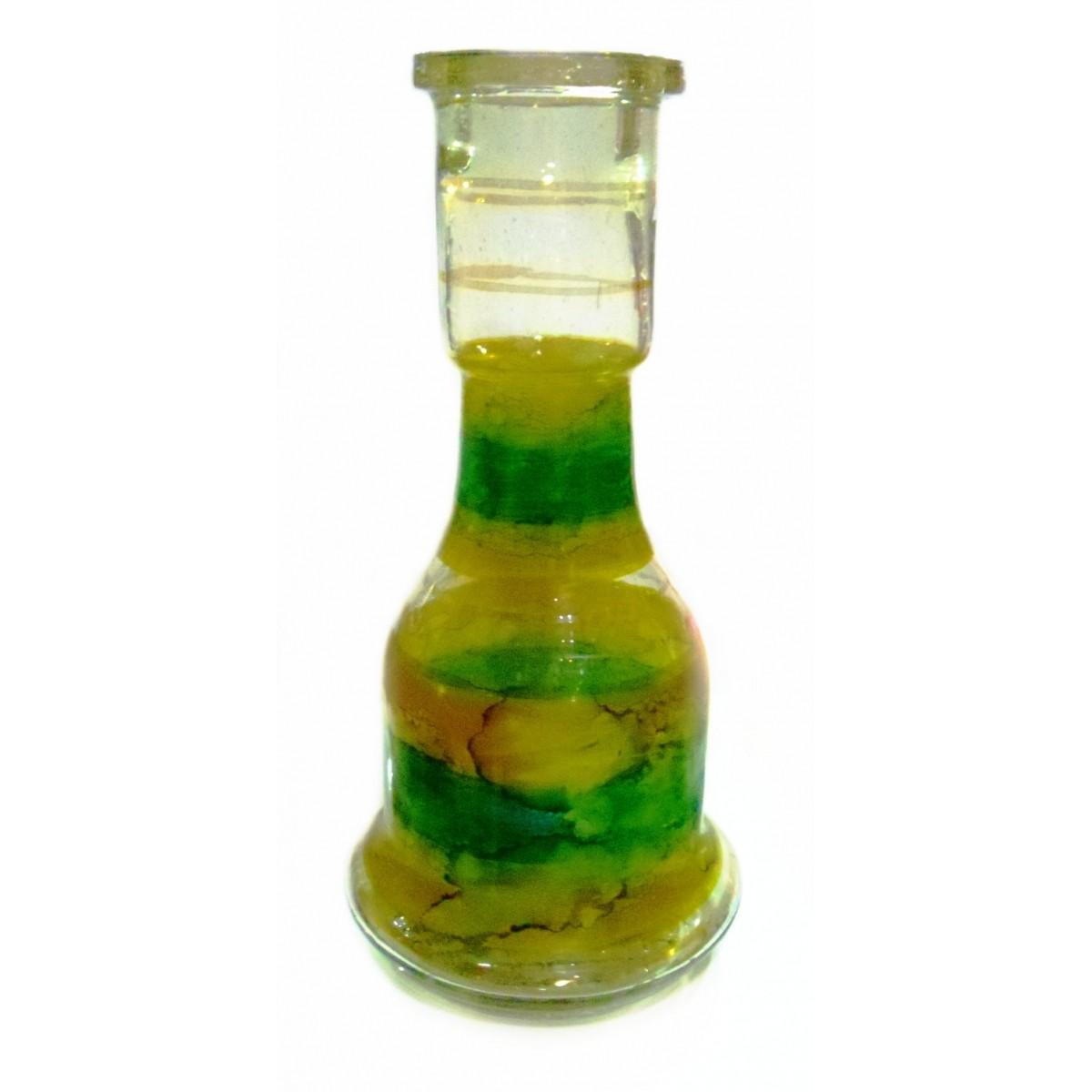 Vaso/Base para narguile em vidro, formato Sino, 30 cm de altura (4,5cm diâm. bocal) pintura manchada em DOURADO e VERDE.