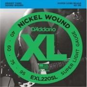 Cordas Para Baixo Elétrico - 4 Cordas - Daddário Xl Nickel Wound Exl220 - Super Light