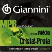 Encordoamento Para Violão Giannini - MPB Nylon - Tensão Média - Cristal Prata