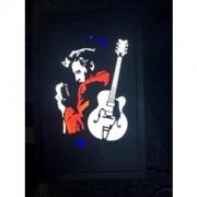 Quadro Led  - Elvis 56  Perfil com Guitarra