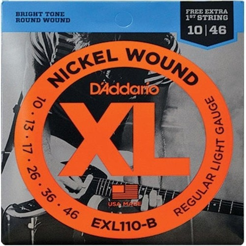 Encordoamento Para Guitarra Daddario Exl110-B 6 Cordas Regular Light 010 - 046 - Corda Mi Extra  - Billbox Records