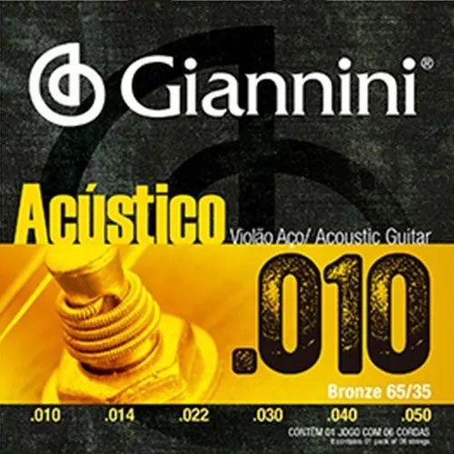 Encordoamento Para Violão Acústico Aço Giannini Geswam 010  - Billbox Records