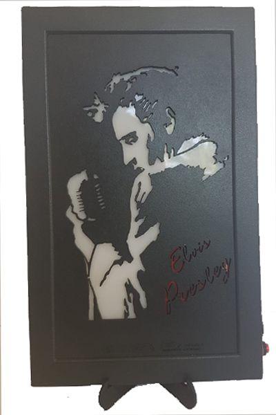 Quadro Led  - Elvis Perfil  56 c/ Microfone  - Billbox Records