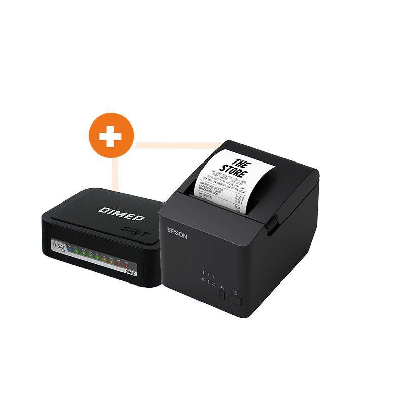 Kit SAT Fiscal Dimep D-SAT2 +  Impressora Térmica Epson TM-T20X USB  - Haja Automação