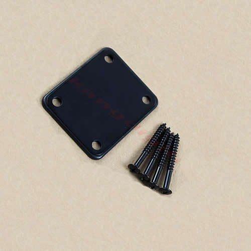 Neck plate preto para guitarra/baixo  + 4 parafusos (42mm x 4,2mm)  - Luthieria Brasil