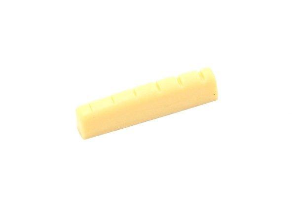 Nut de plástico cor creme para guitarra/violão (43mm x 6.0mm x 9.2/8.3mm)  - Luthieria Brasil