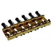Carrinhos (saddles) dourados modelo vintage para guitarra - Espaçamento 10.8mm - Kit com 6 peças - Sung Il (PS007)