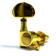 """Tarraxa Dourada """"em linha"""" botão """"groover"""" para guitarra - Jogo 6 peças - Alice (AD-016J-L)"""