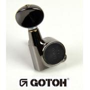 """Tarraxa Cosmo Black Blindada """"em linha"""" botão oval para guitarra - jogo 6 peças - Gotoh (SG381-05L-CK)"""