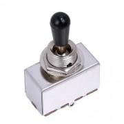Chave seletora 3 posições Les Paul cromada com knob preto (modelo 2)