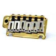 Ponte Dourada estilo Stratocaster para guitarra com carrinhos de aço inox (Bloco 40mm) - Sung-il (BS184)