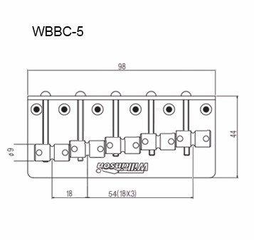 Ponte Cromada para baixo 05 cordas - 18mm - Wilkinson by Sung il (WBBC5)  - Luthieria Brasil