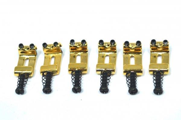Carrinhos (saddles) dourados modelo vintage para guitarra - Espaçamento 10.8mm - Kit com 6 peças - Sung Il (PS007)  - Luthieria Brasil