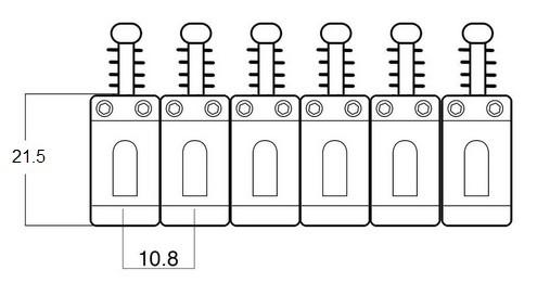 Carrinhos (saddles) cromados modelo vintage para guitarra - Espaçamento 10.8mm - Kit com 6 peças - Sung-il (PS007)  - Luthieria Brasil