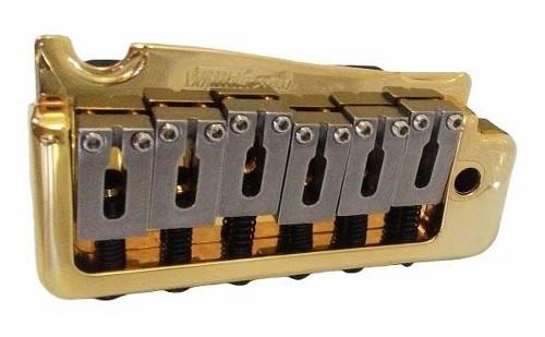 Ponte Dourada Tremolo 2 pivôs estilo Stratocaster para guitarra com carrinhos em aço inox (Bloco 41.2mm) - Wilkinson by Sung-il (WVP)  - Luthieria Brasil