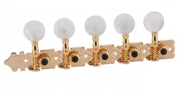 """Tarraxa Dourada """"Super Luxo"""" pino grosso com botão branco perolado para viola - Deval (Modelo 510)  - Luthieria Brasil"""